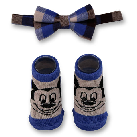 Disney Baby Boys Mickey Mouse Character Plaid Bow Tie and Socks Gift Set, Age 0-12M - The Accessories Outlet