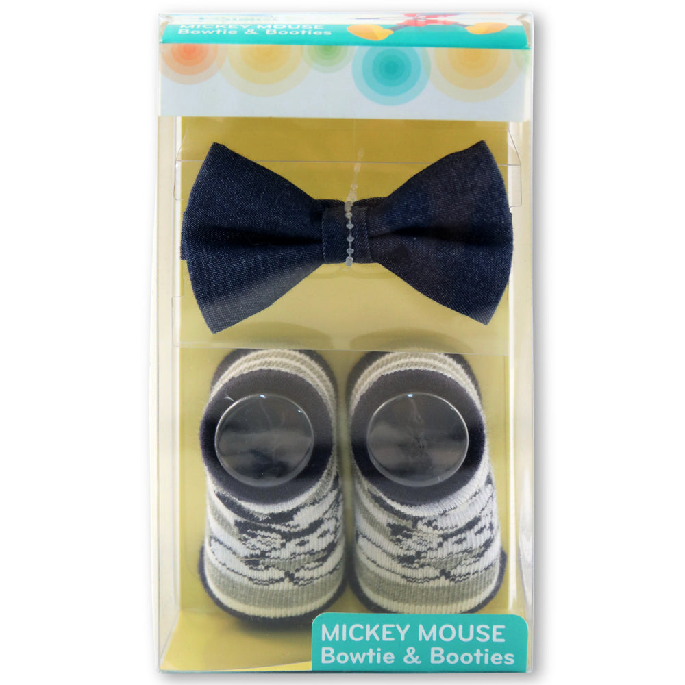 Disney Baby Boys Mickey Mouse Character Bow Tie and Striped Socks Gift Set, Age 0-12M - The Accessories Outlet