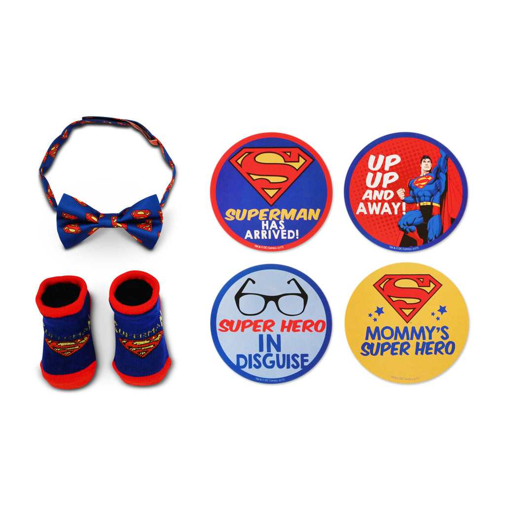 DC Comics Superman Milestone Stickers, Bowtie and Terry Booties Gift Set, Baby Boys, Age 0-12M - The Accessories Outlet