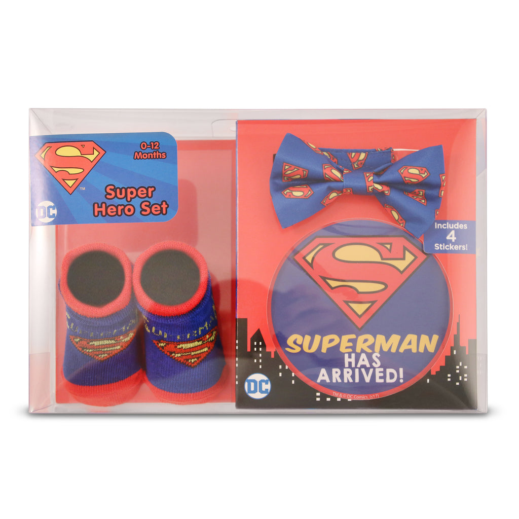 DC Comics Superman Milestone Stickers, Bowtie and Terry Booties Gift Set, Baby Boys, Age 0-12M - Accessory Place