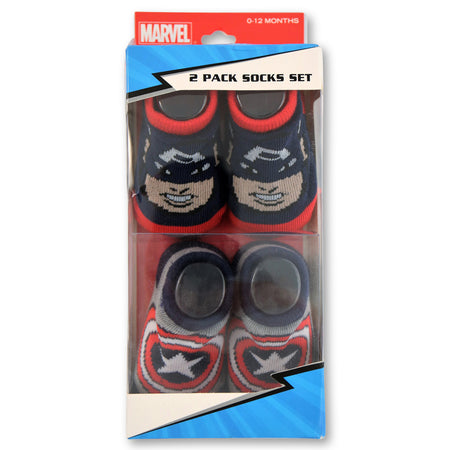 Marvel Baby Boys Captain America 2-Pack Socks Set, Age 0-12M - The Accessories Outlet