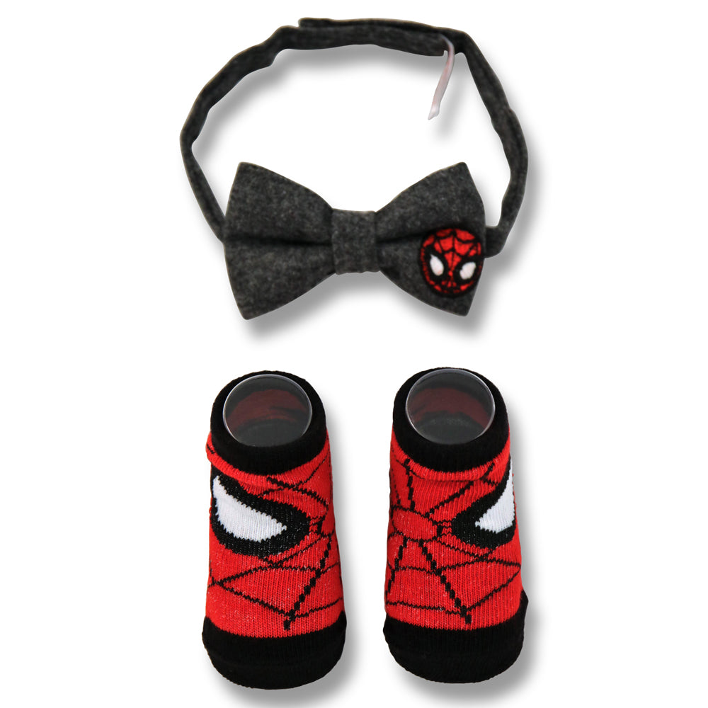 Marvel Baby Boys Captain America/Spiderman Character Bow Tie and Socks Gift Set, Age 0-12M - The Accessories Outlet
