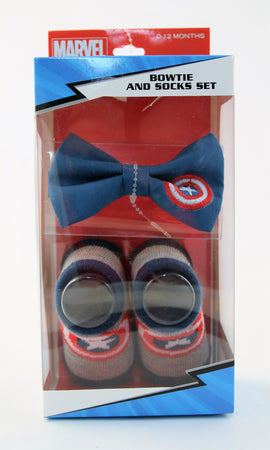Marvel Baby Boys Captain America Or Spiderman Character Bow Tie and Socks Gift Set, Age 0-12M - The Accessories Outlet