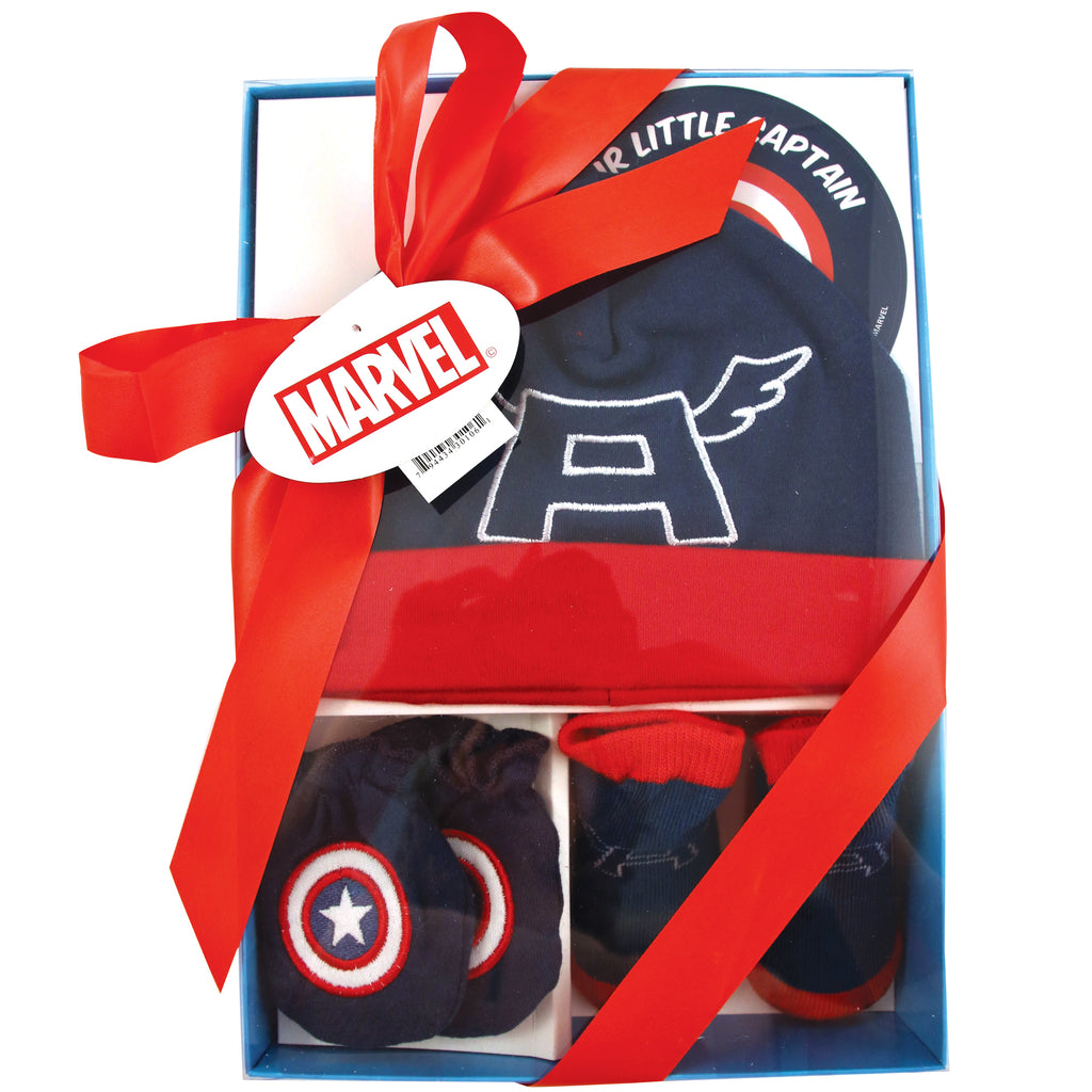 Marvel Avengers Captain America Hat with Mitts and Booties Take Me Home Gift Set, Baby Boys, 0-3M - Accessory Place