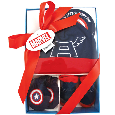 Marvel Avengers Captain America Hat with Mitts and Booties Take Me Home Gift Set, Baby Boys, 0-3M - The Accessories Outlet