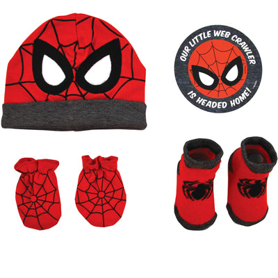 Marvel Avengers Spiderman Hat with Mitts and Booties Take Me Home Gift Set, Baby Boys, 0-3M - The Accessories Outlet