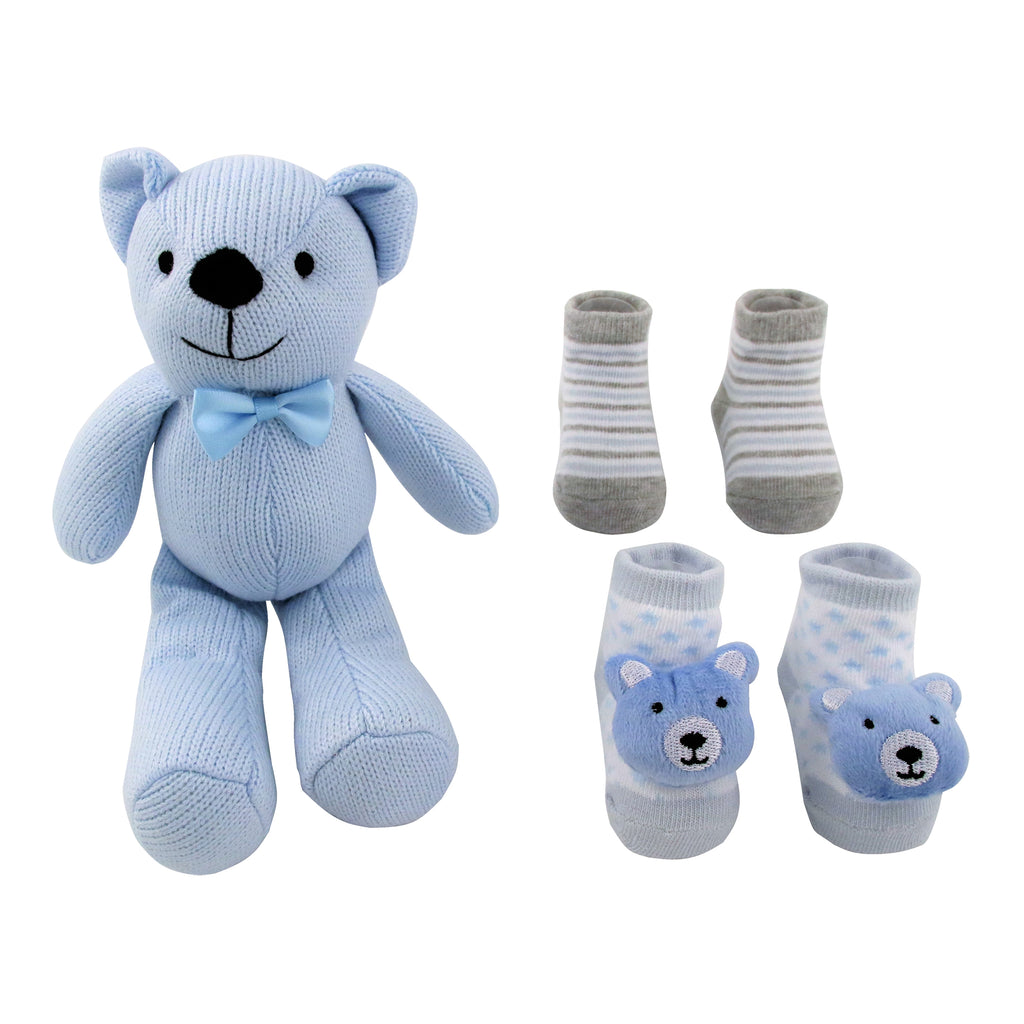 Rising Star Baby Boy Knit Toy Bear with 3D Socks Gift Box Set, Blue, Ages 0-12 Months: - The Accessories Outlet