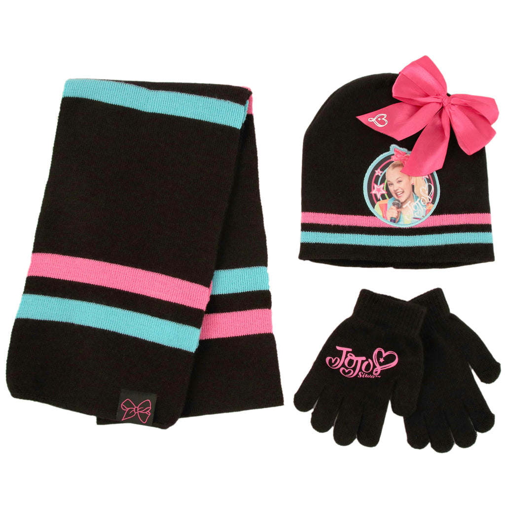 Nickelodeon JoJo Hat, Scarf and Gloves Cold Weather Set, Little Girls, Age 4-7 - The Accessories Outlet