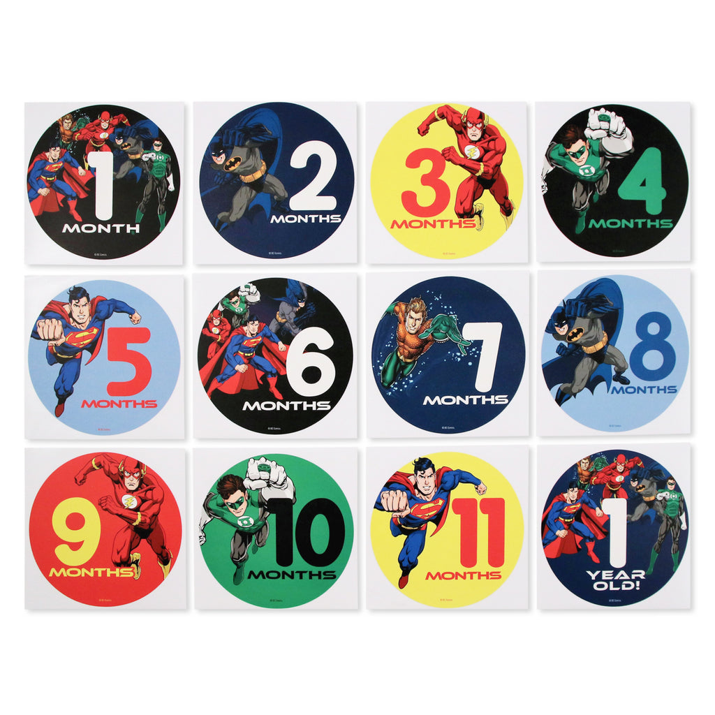 DC Comics Justice League Milestone Photo Prop Belly Stickers Gift Set, Baby Boys, Age 0-12M - The Accessories Outlet