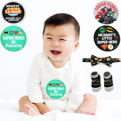 DC Comics Justice League Milestone Stickers, Bowtie and Terry Booties Gift Set, Baby Boys, Age 0-12M - The Accessories Outlet