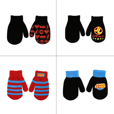 DC Comics Justice League Designs 4 Pair Acrylic Mittens Set, Toddler Boys, Age 2-4 - The Accessories Outlet