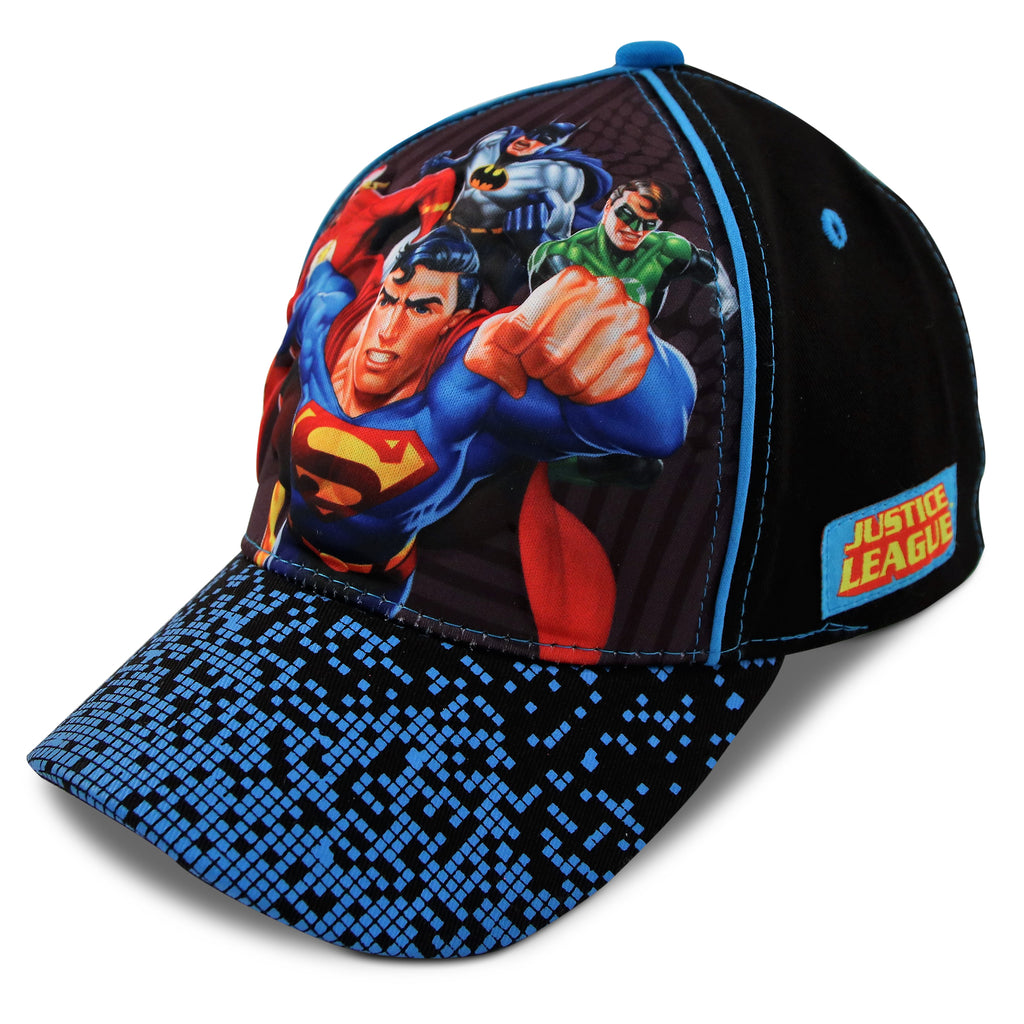 DC Comics Little Boys Justice League Character 3D Pop Cotton Baseball cap, Black/Blue, Age 2-4 or 4-7 - The Accessories Outlet