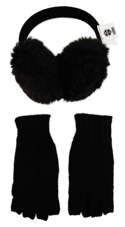 Khombu Womens Faux Fur Earmuff and Flip Top Glove Gift Set - The Accessories Outlet