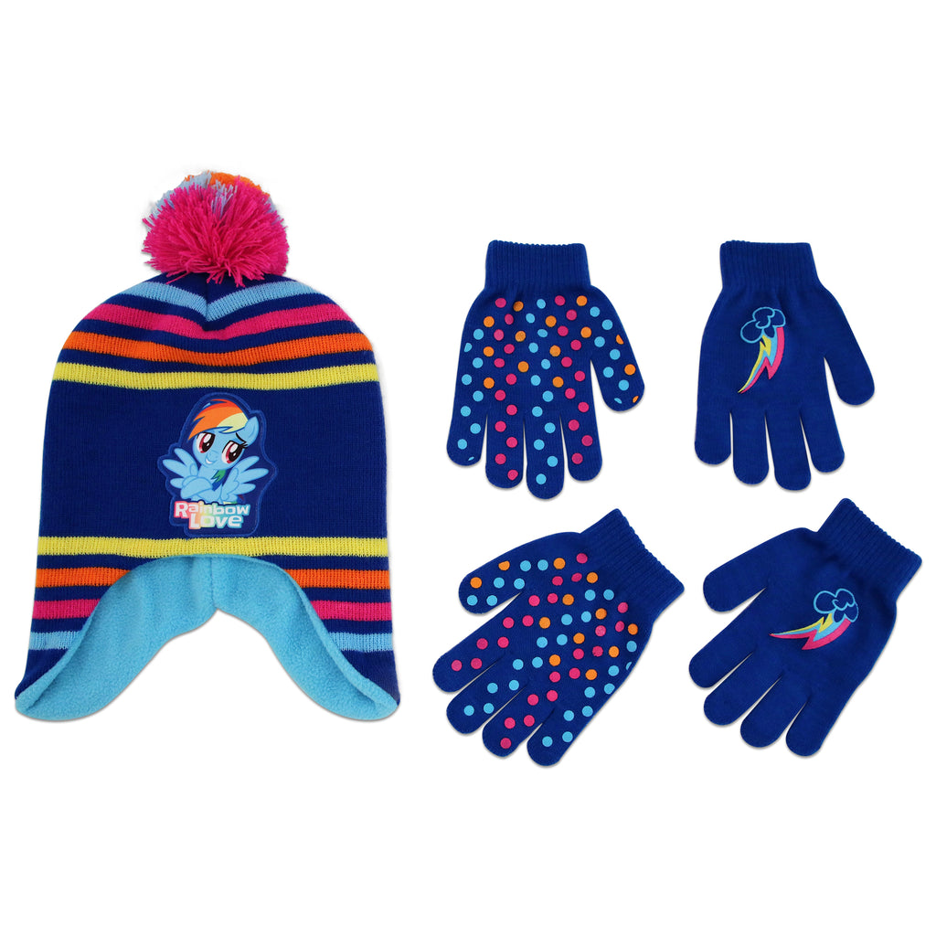 Hasbro My Little Pony Hat and 2 Pair Gloves or Mittens Cold Weather Set, Little Girls, Age 2-7 - The Accessories Outlet
