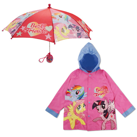 Hasbro My Little Pony Slicker and Umbrella Rainwear Set, Little Girls, Age 2-7 - The Accessories Outlet