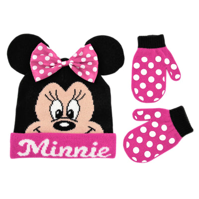 Disney Minnie Mouse Bowtique Polka Dot Hat and Mitten Cold Weather Set, Toddler Girls, Age 2-4 - The Accessories Outlet