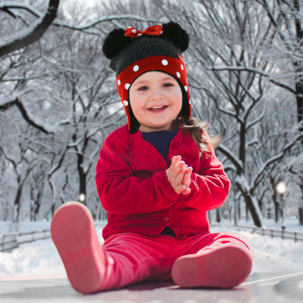 Toddler Girls MINNIE MOUSE WINTER HAT Mittens BLACK WHITE POLKA DOT Red Bow