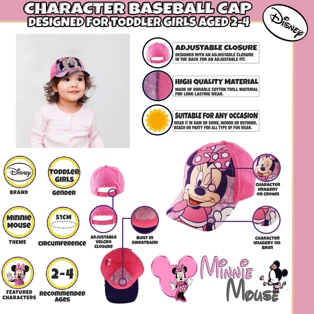 Disney Minnie Mouse Bowtique Cotton Baseball Cap, Toddler Girls, Age 2-4 - Accessory Place