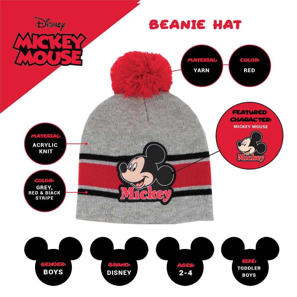 Disney Mickey Mouse Hat, Scarf and Mitten Cold Weather Set, Toddler Boys, Age 2-4 - The Accessories Outlet