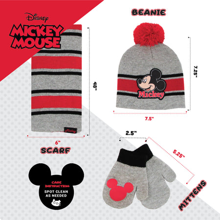 Disney Mickey Mouse Hat, Scarf and Mitten Cold Weather Set, Toddler Boys, Age 2-4 - Accessory Place