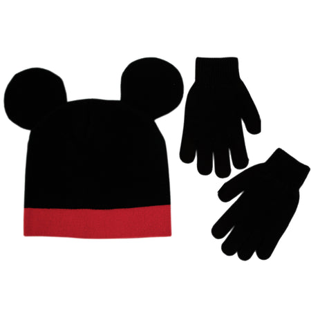 Disney Mickey Mouse Hat and Gloves Cold Weather Set, Little Boys, Age 4-7 - Accessory Place