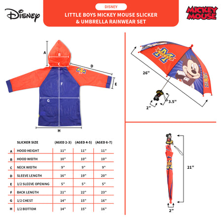 Disney Mickey Mouse Slicker and Umbrella Rainwear Set, Little Boys, Age 2-7 - Accessory Place