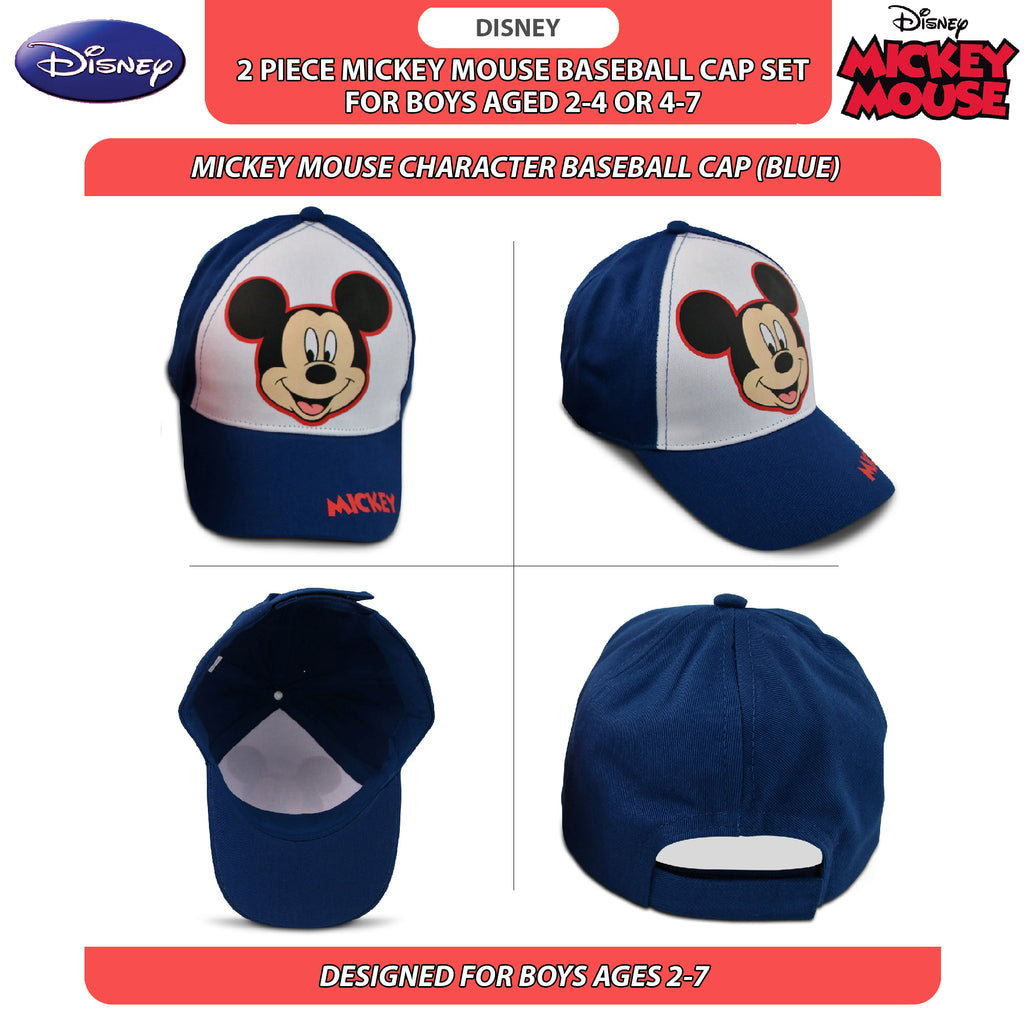 Disney Little Boys Mickey Mouse Cotton Baseball Cap, 2 Piece Design Set, Age 2-7 - The Accessories Outlet
