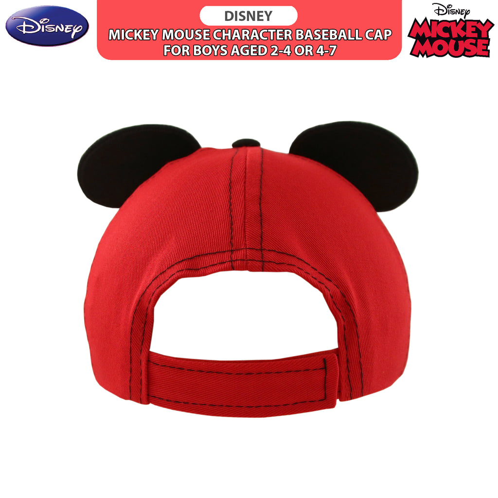 Disney Little Boys Mickey Mouse Character Cotton Baseball Cap, Red/Black, Age 2-7 - The Accessories Outlet