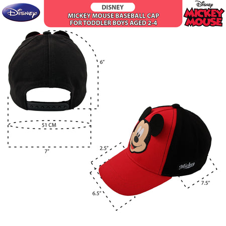 Disney Toddler Boys Mickey Mouse Character Baseball Cap, Age 2-4 - The Accessories Outlet
