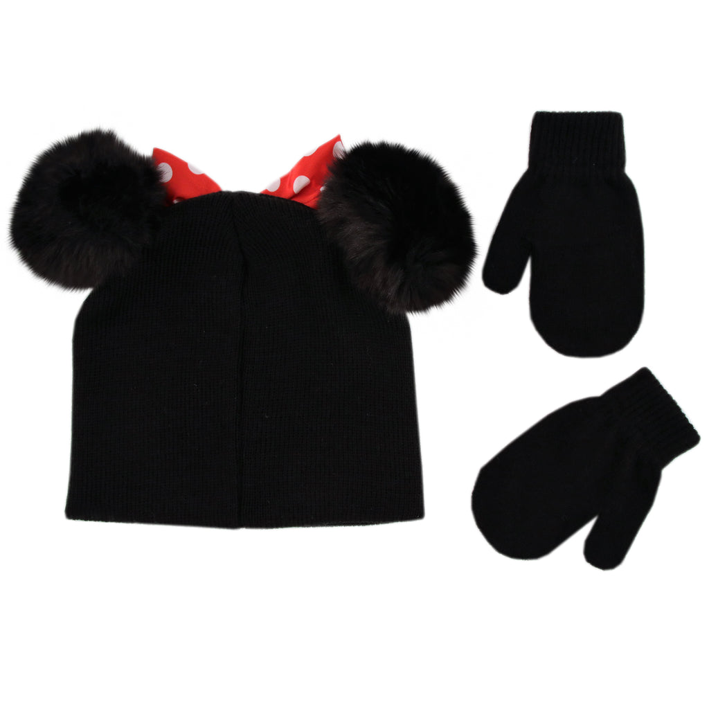 Disney Minnie Mouse Hat and Mittens Cold Weather Set, Toddler Girls, Age 2-4 - The Accessories Outlet