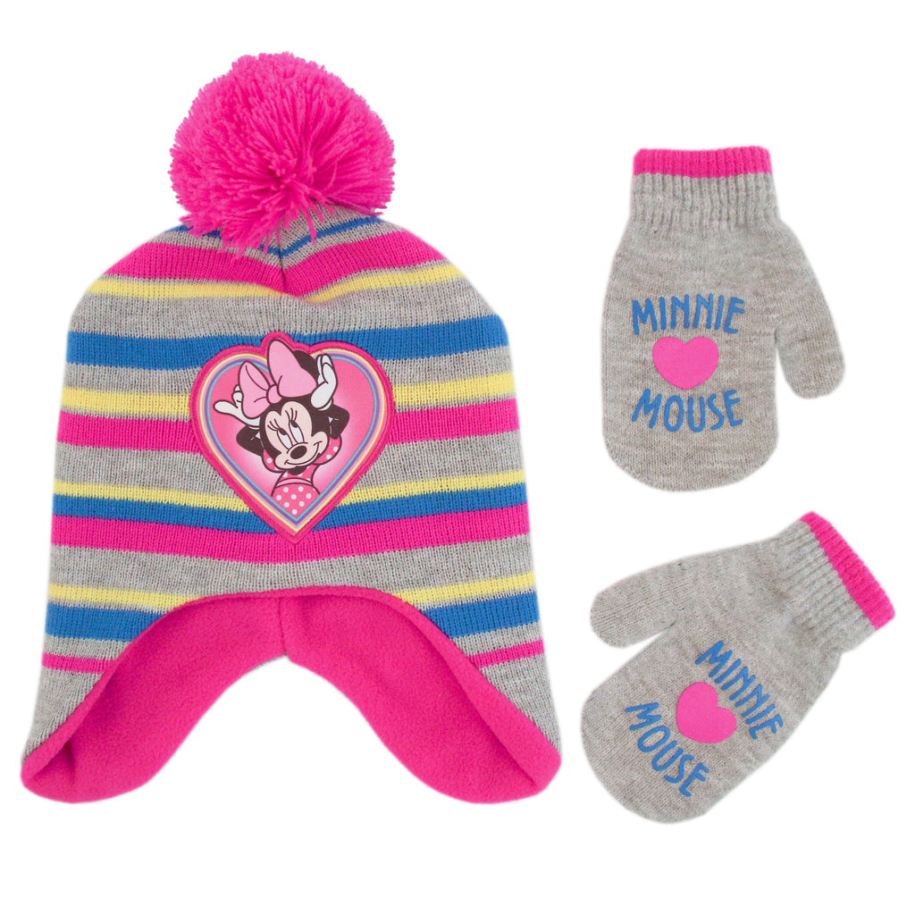 a7324c0416dad Disney Girls Toddler Minnie Mouse Pom Hat and Mittens Cold Weather ...