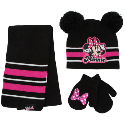 Disney Minnie Mouse Hat, Scarf and Mitten or Gloves Cold Weather Set, Toddler Girls, Age 2-4 or Little Girls Age 4-7 - The Accessories Outlet