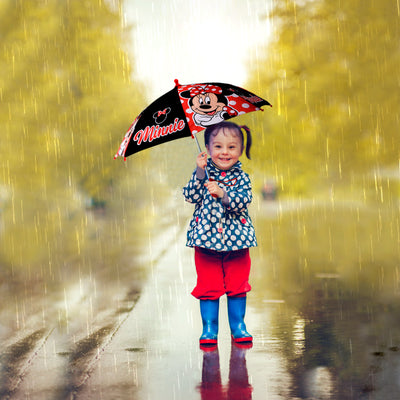 Disney Little Girls Minnie Mouse Polka Dot Character Rainwear Umbrella, Age 3-7 - The Accessories Outlet