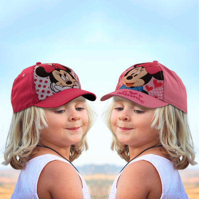 Disney Little Girls Minnie Mouse Character Cotton Baseball Cap, 2 Piece Design Set, Pink, Age 2-7 - The Accessories Outlet