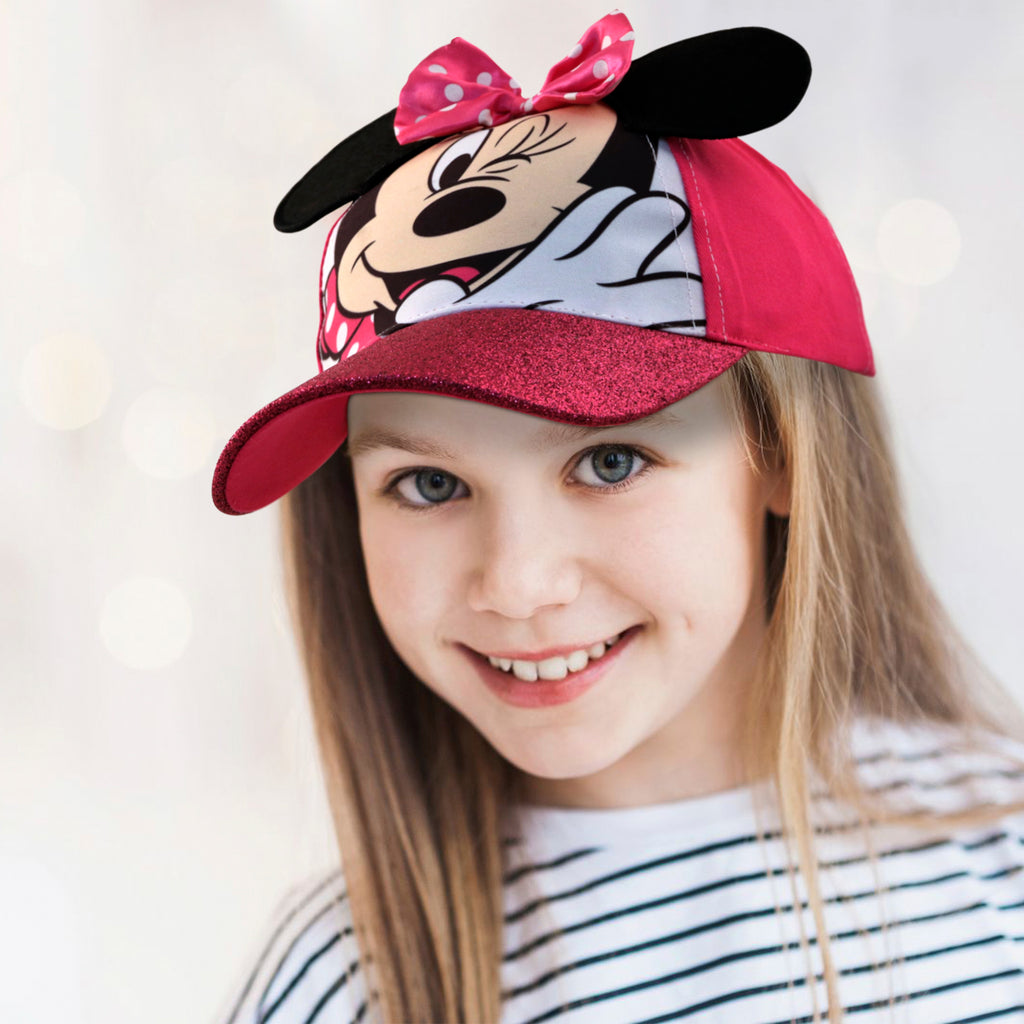 Disney Little Girls Minnie Mouse Character Cotton Baseball Cap, Age 2-7 - The Accessories Outlet