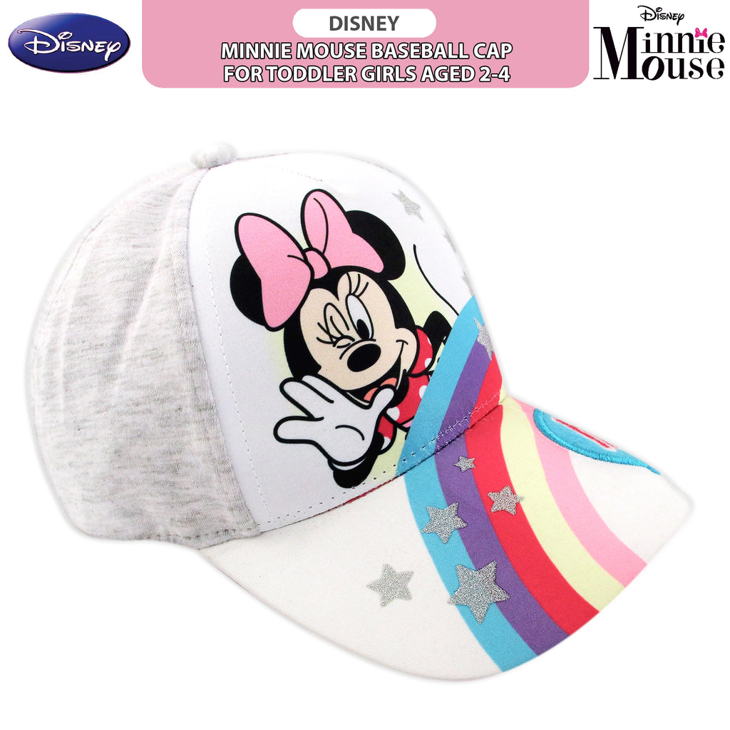 Disney Minnie Mouse Heather Jersey Rainbow Baseball Cap, Toddler Girls, Age 2-4 - The Accessories Outlet