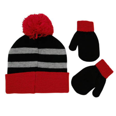Disney Mickey Mouse Hat and Mittens Cold Weather Set, Toddler Boys, Age 2-4 - Accessory Place