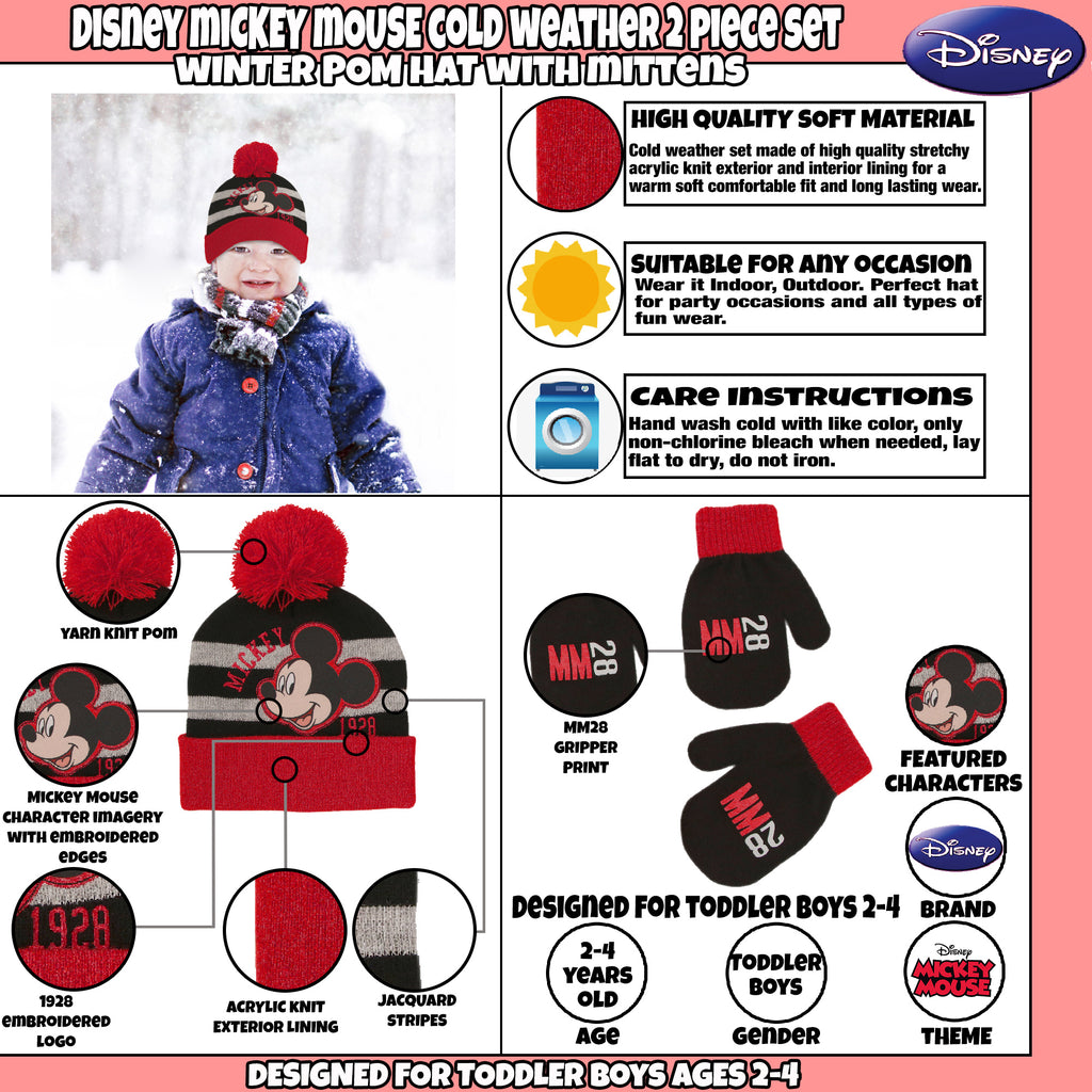 d5b2741fe69 ... uk disney mickey mouse hat and mittens cold weather set toddler boys  age 2 4 ab7ca