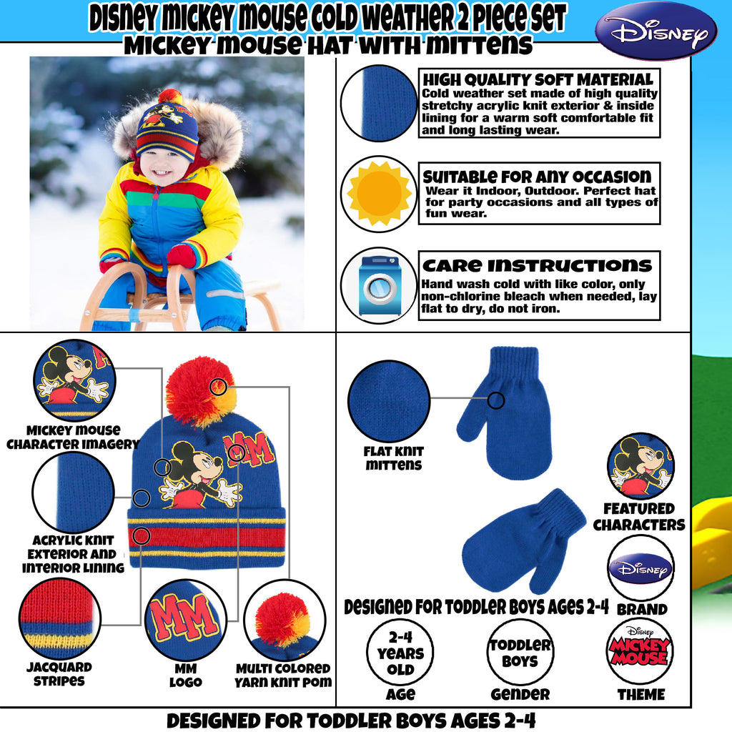 Disney Mickey Mouse Hat and Mittens Cold Weather Set, Toddler Boys, Age 2-4 - The Accessories Outlet