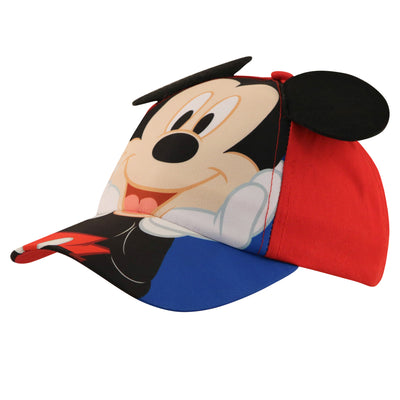 Disney Toddler Boys Mickey Mouse Character Cotton Baseball Cap, Red/Blue, Age 2-4 - Accessory Place