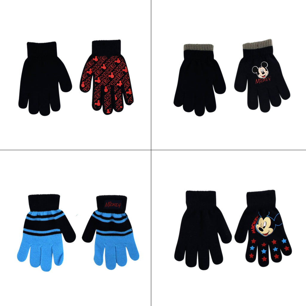 Disney Mickey Mouse 4 Pair Gloves or Mittens Cold Weather Set, Little Boys, Age 2-7 - The Accessories Outlet