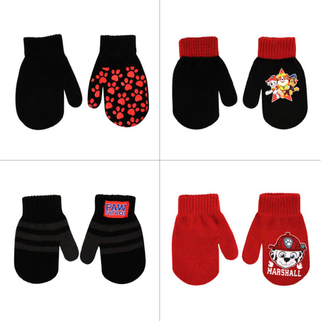 Nickelodeon Paw Patrol 4 Pair Gloves or Mittens Cold Weather Set, Little Boys, Age 2-7 - The Accessories Outlet