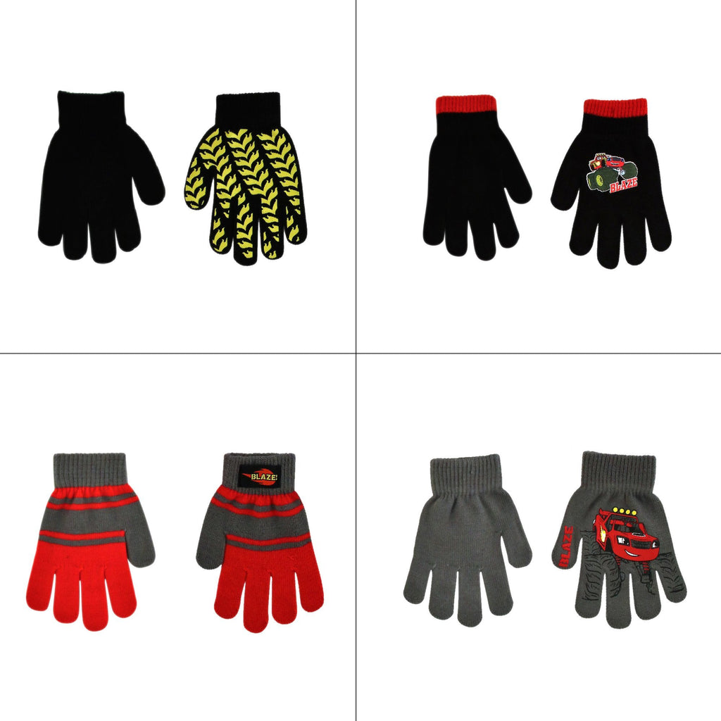 Nickelodeon Blaze 4 Pair Gloves or Mittens Cold Weather Set, Little Boys, Age 2-7 - The Accessories Outlet