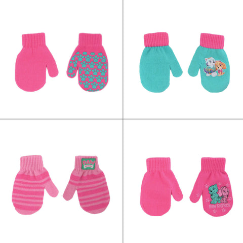 Nickelodeon Paw Patrol 4 Pair Acrylic Gloves or Mittens Cold Weather Set, Little Girls, Age 2-7 - The Accessories Outlet