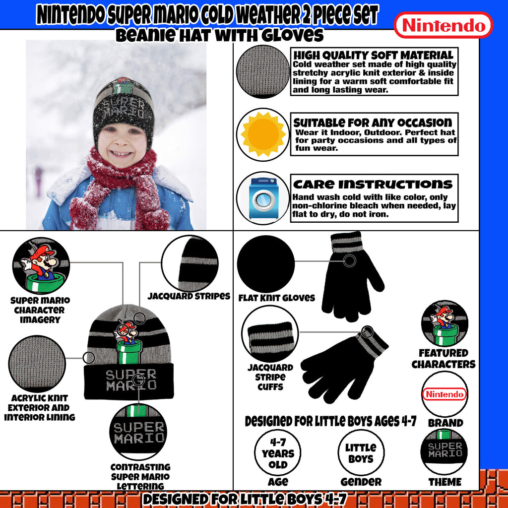 6d7f426bb71b7 Nintendo Super Mario Hat and Gloves Cold Weather Set