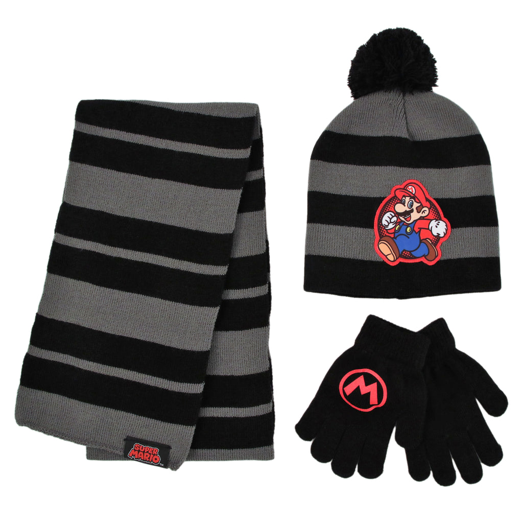 Nintendo Mario Hat, Scarf and Gloves Cold Weather Set, Little Boys, Age 4-7 - The Accessories Outlet
