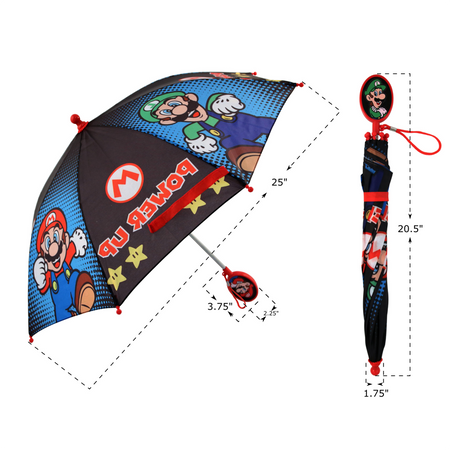 Nintendo Mario And Luigi Character Rainwear Umbrella, Little Boys Age 3-7 - The Accessories Outlet