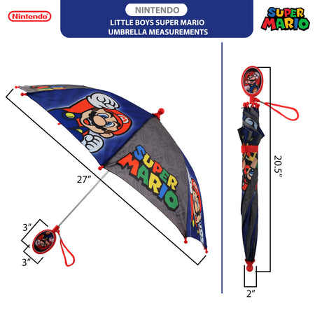 Nintendo Little Boys Mario And Luigi Character Rainwear Umbrellas, Ages 3-7