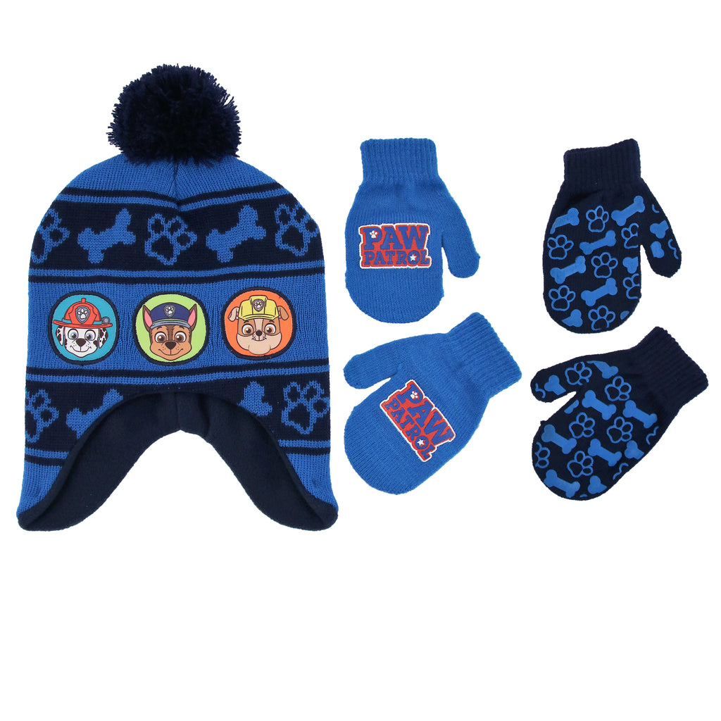 Nickelodeon Paw Patrol Character Hat and 2 Pairs of Mittens or Gloves Cold Weather Set, Little Boys Age 2-7 - The Accessories Outlet