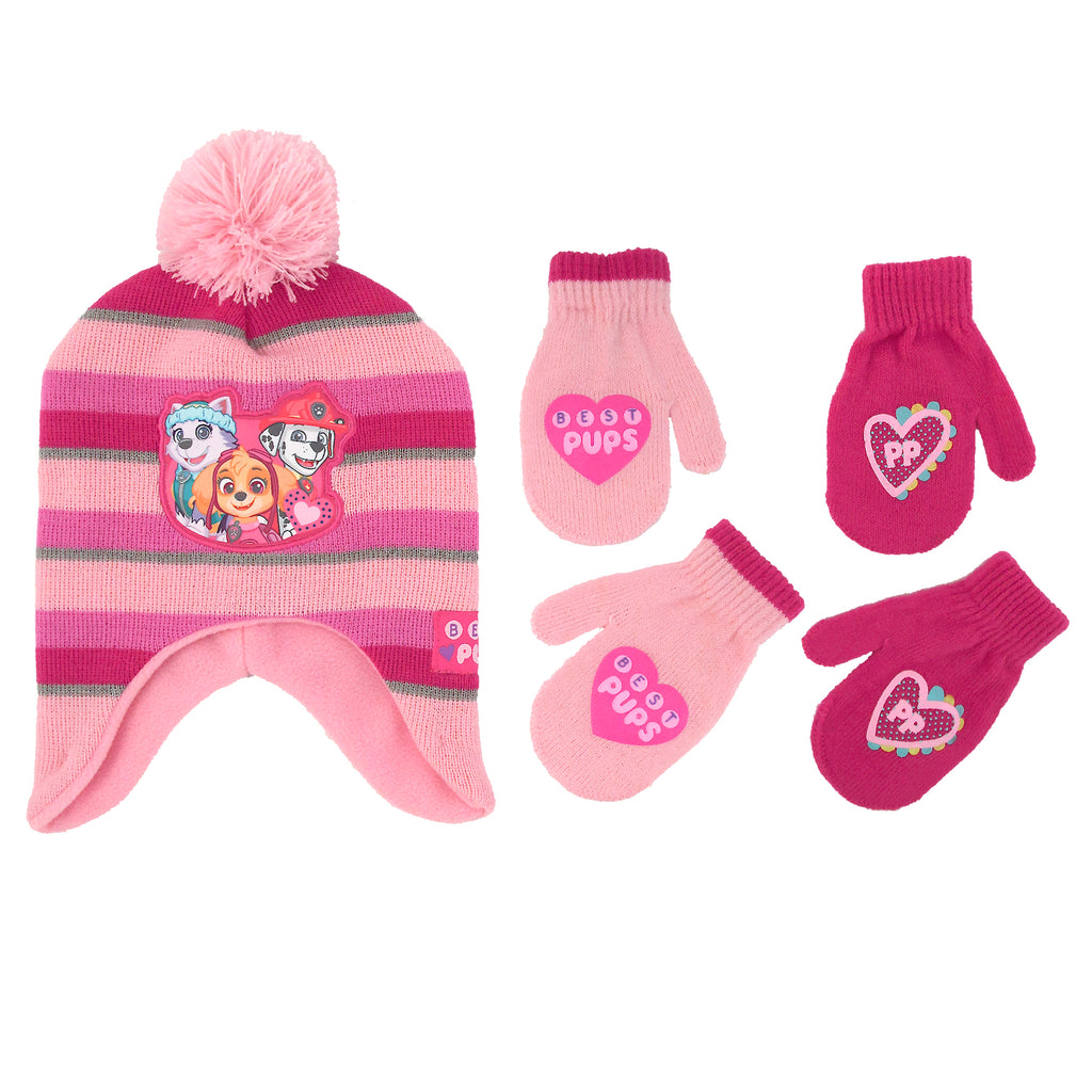 Nickelodeon Little Girls Paw Patrol Hat and 2 Pair Mittens or Gloves Cold Weather Set, Age 2-7 - The Accessories Outlet